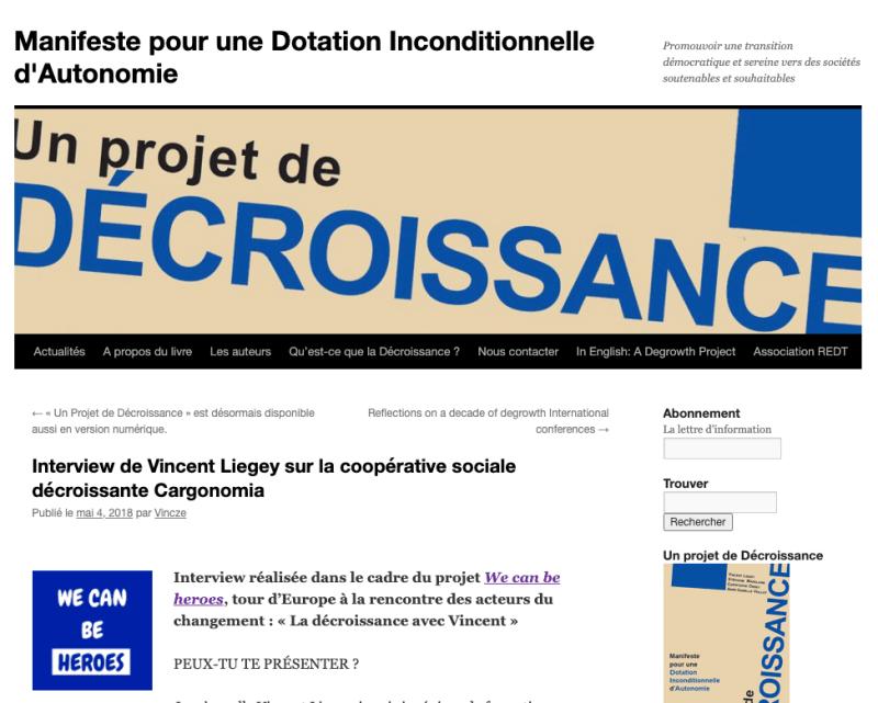 Interview de Vincent Liegey sur la coopérative sociale décroissante Cargonomia